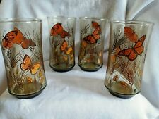 Butterfly Drinking Glass Glasses Drinkware Vintage Boho Nature Wheat  Retro