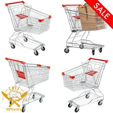 3.5 Cu. Ft Metal Supermarket Grocery Cart Rolling Shopping Baskets Swivel Wheels