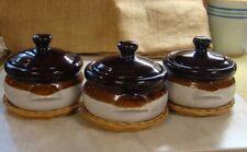 VINTAGE GAILSTYN-SUTTON SOUP BOWLS with LIDS & wicker trivets