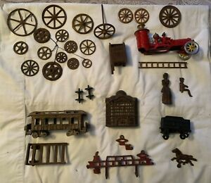 Cast Iron Toy Parts-Wheels, Fire Engine, RR Cars, Bank Parts, More!
