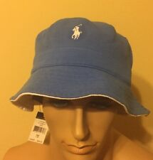 polo ralph lauren bucket  Hat Cotton Large / XLarge 2 In 1  White / Sky Blue