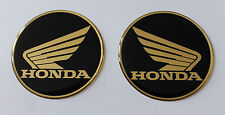 Gold Honda Wings stickers/decals-40mm chrome/black-HIGH GLOSS DOMED GEL FINISH