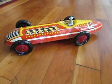 """Antique Marx 1950s Indy race car tin litho wind up ok with driver toy 16.5"""" Long"""
