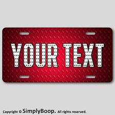 Red Diamond Plate Your Text  Name Custom License Plate Auto Car Tag Personalized