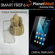 FUNDA TRANSPARENTE + PROTECTOR CRISTAL TEMPLADO vidrio VODAFONE SMART FIRST 6