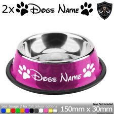 2x Personalised Dog Pet Puppy Bowl Dish Vinyl Sticker Stickers Decal Paw Disney