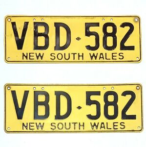 VINTAGE NSW NUMBER PLATES VBD-582 Pair Of Collectable Plates From Old Commodore