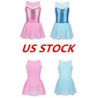 US Kids Girls Gymnastics Leotard Dress Ballet Dance Tutu Skirt Dancewear Costume