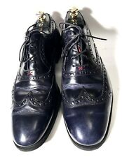 Kiton Dark-Blue Perforation Leather Lace-Up Shoes Size 45, UK-11, US-12