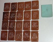 20 alte Kupferschablonen Stickschablone Monogramme Stickvorlagen Wäscheschablone