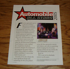 2005 Subaru Legacy Automobile All Stars Road & Travel Sales Brochure 05