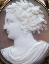 Shell antigua victoriana Antique Victorian cameo Giratoria De Pelo luto Medallón Broche de flora