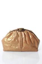 Judith Leiber Beige Leather Gold Tone Small Clutch Vintage Handbag