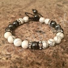 Luxury White Howlite & gunmetal Hematite Gemstone Crystal Bracelet Mens Ladies