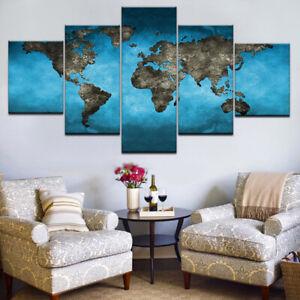 Abstract Light Blue World Map 5 piece HD Art Poster Wall Home Decor Canvas Print