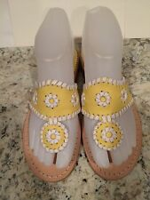 Jack Rogers Navajo Sandals Flat Leather Flip Flop Thong Yellow White 5 - 5.5 M