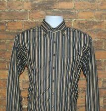 Scott Barber Mens Button Down Shirt Size Medium Brown Striped Long Sleeve Cotton