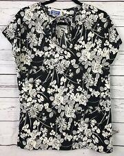 Womens Ship N Shore Vintage Shirt Size 16 Short Sleeve Key Hole Neck Rose Floral