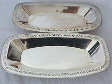 "Vintage Set of 2 Silver Plate Rectangle Tray Platter Server Pierced 12"" (ref66)"