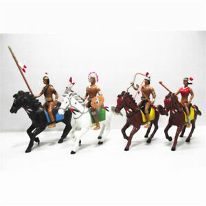 1pc West Cowboy on Horse People Model  Statue Indian Action Figures Plastic Toys
