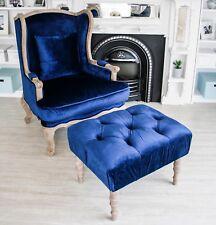 *FLOOR STOCK!!* Royal Blue Footrest Tufted Oak Foot Stool Dressing Bench Ottoman