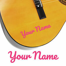 2 x Guitar Name Stickers - Personalised Acoustic Electric - Curly Style