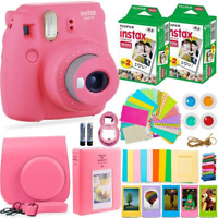 FujiFilm Instax Mini 9 Instant Camera w/Bundle Carrying Case Flamingo Pink Gift