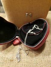 Pandora Majestic Feathers Necklace And Earrings With Pandora Heart Case