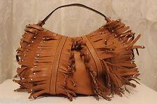 Karen Millen grande in pelle con borchie frange Tote Tan Tracolla £ 235