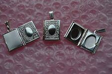 """UK Jewellery Silver Book Picture Photo Locket Pendant + 16"""" Snake Necklace Chain"""