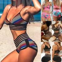 Womens Yoga Suit Crop Top+Leggings Bra Hot Pants Sports Shorts Gym Set Outfit