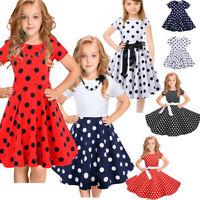 Kids Girls Polka Dot Printed Kids Retro Princess Swing Rockabilly Party Dresses