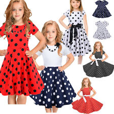 Kids Girls Polka Dot Dress Kids Vintage Princess Swing Rockabilly Party Dresses