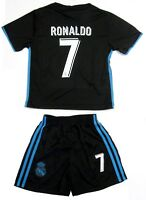 Real Madrid Soccer Black Blue Away Jersey Shorts Ronaldo # 7 Uniform Kids Youth