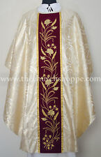 metallic gold gothic vestment & mass and stole set,Gothic chasuble,casula,casel