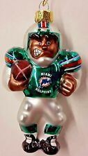 NFL Miami Dolphins FOOTBALL PLAYER Blown Glass Ornament, NEW