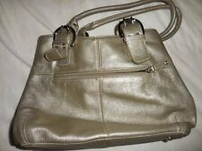 vguc Tiganello bronzy silver extra large leather hand bag large free ship USA
