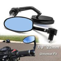"Pair Black 7/8"" 22mm Motorcycle Motorbike Alloy Bar End Side Rearview Mirrors UK"