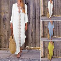 ZANZEA Women Ethnic Low Cut Long Maxi Dress Asymmetrical Full Length Shirt Dress