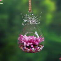 Clear Angel Wishing Glass Hanging Vase Terrarium Hydroponic Plant Decor