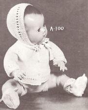"Vintage Knitting PATTERN to make Doll Clothes Sweater Cardigan Cap 10-16""BabySet"