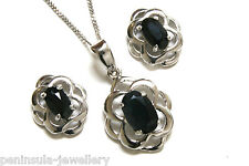 9ct White Gold Sapphire Celtic Pendant and Earring Set Gift Boxed