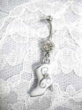 NEW WHITE HIGH HEEL COWGIRL BOOT CHARM ON DAZZLING CZ BELLY BUTTON RING COWBOY