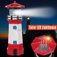 XXL Leuchtturm Leuchttürme Garten aus Holz mit Beleuchtung 1,40m rot//weiß