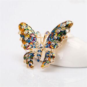 1-Pack Women Ladies Multicoloured Enamel Butterfly Brooch Pin Rhinestones Badge