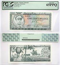 65PPQ PCGS Rwanda 500 Francs Issued 1974  Banknote Pick # 11A Gem Uncirculated