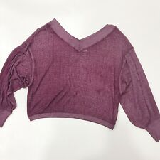 We the Free Free People Womens South Side Thermal Top M Cropped Sweater Viloet