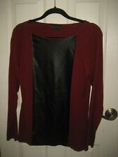i Jeans by Buffalo Red Sweater with Faux Leather Trim Size L