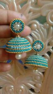 Turquoise Color Jhumka Style Silk Thread Earrings For Girls And Women Jewelry