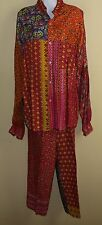 Dewi Tres Amazin Art-to-Wear Funky Flowing Rayon Funky Floral Tunic Pants Set OS